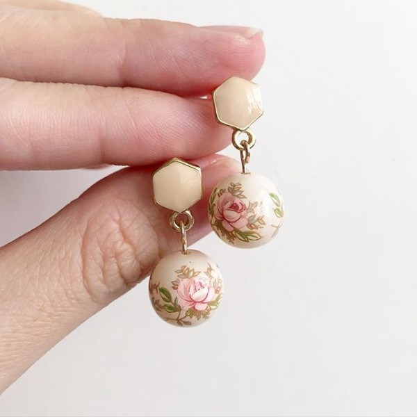Pastel Pink Rose in Light Blush Tensha Earrings - Diary of a Miniature Enthusiast