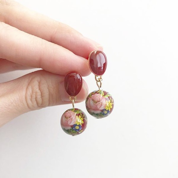 Wine Red Rose Earrings - Diary of a Miniature Enthusiast