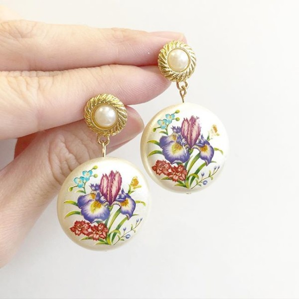Purple Wildflowers Pearlescent Statement Pearl Earrings - Diary of a Miniature Enthusiast