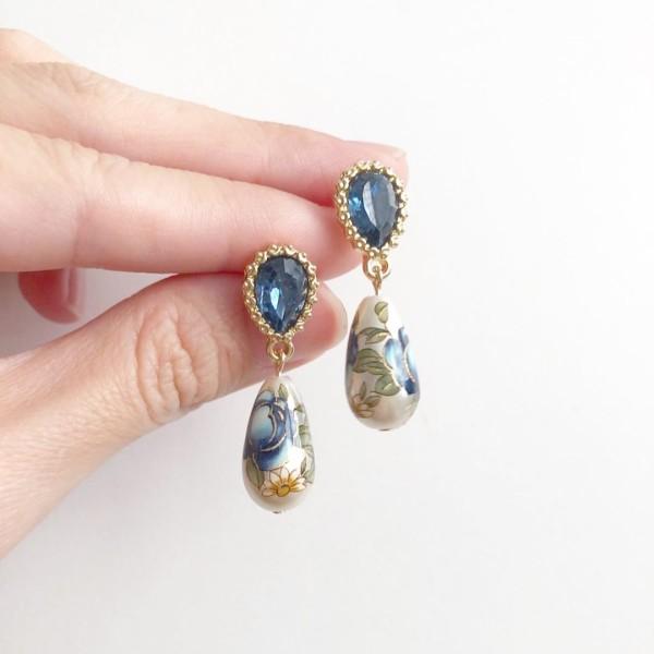Pearl Blue Rose Teardrop Earrings - Diary of a Miniature Enthusiast