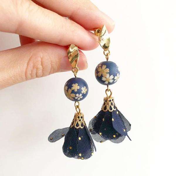 Navy Blue Sakura Tassels Earrings - Diary of a Miniature Enthusiast