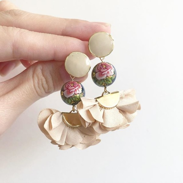 Classic Rose in Navy Sand Flare Earrings - Diary of a Miniature Enthusiast
