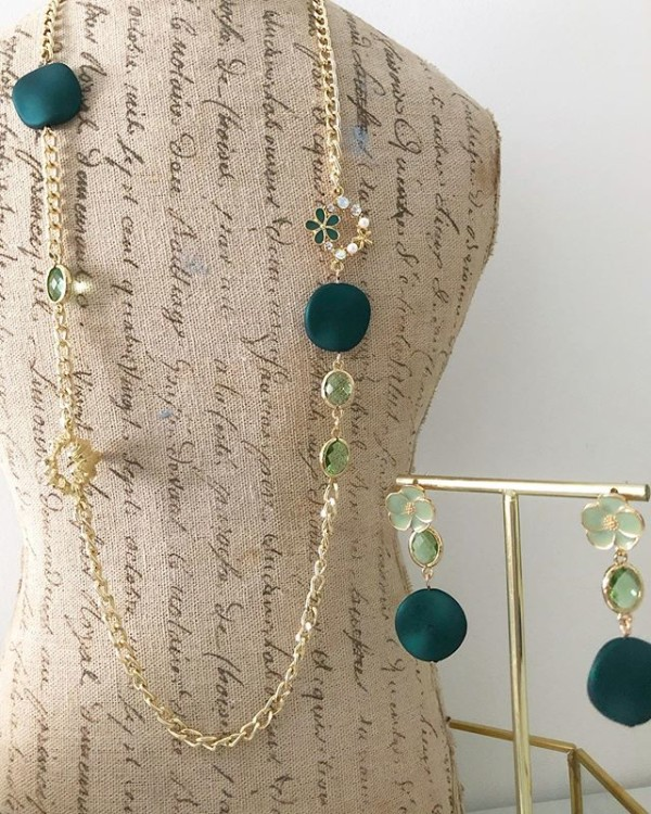 Green and Gold Floral Necklaces and Earrings - Diary of a Miniature Enthusiast