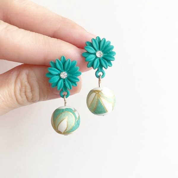 Turquoise Motif Floral Earrings - Diary of a Miniature Enthusiast