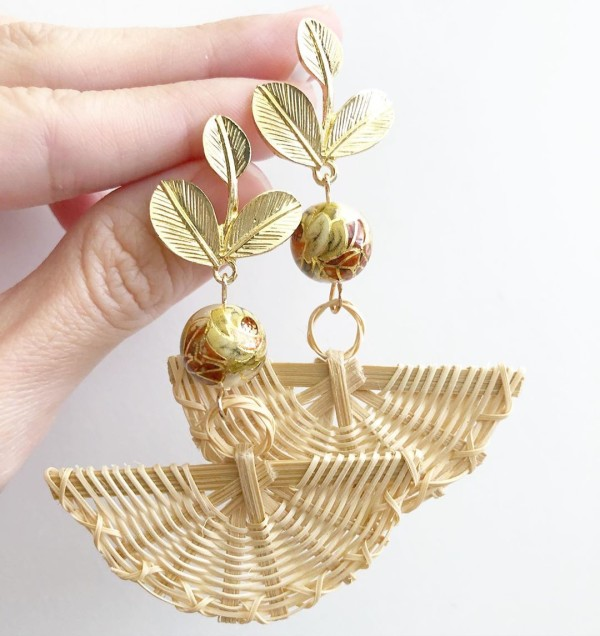 Vintage Camelia Light Rattan Fan Flare Earrings - Diary of a Miniature Enthusiast
