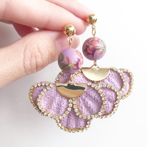 Purple Double Lily Rhinestone Border Flare Earrings - Diary of a Miniature Enthusiast