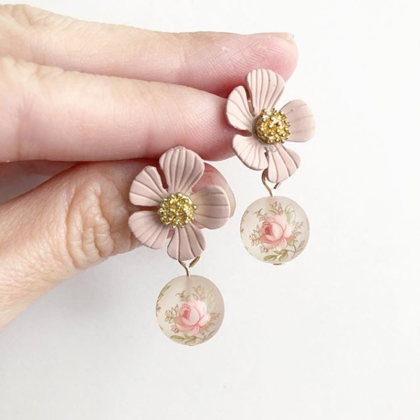 Frosted Pastel Pink Floral Earrings - Diary of a Miniature Enthusiast