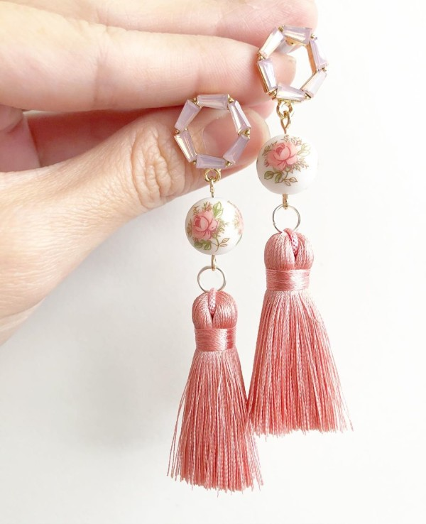 Pastel Pink Rose Silk Tassels Earrings - Diary of a Miniature Enthusiast