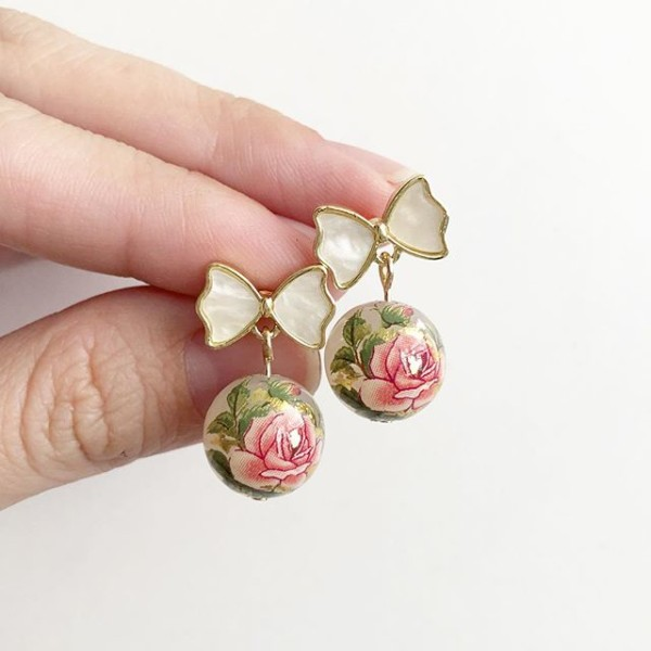 Classic Rose in Opal Tensha Earrings - Diary of a Miniature Enthusiast