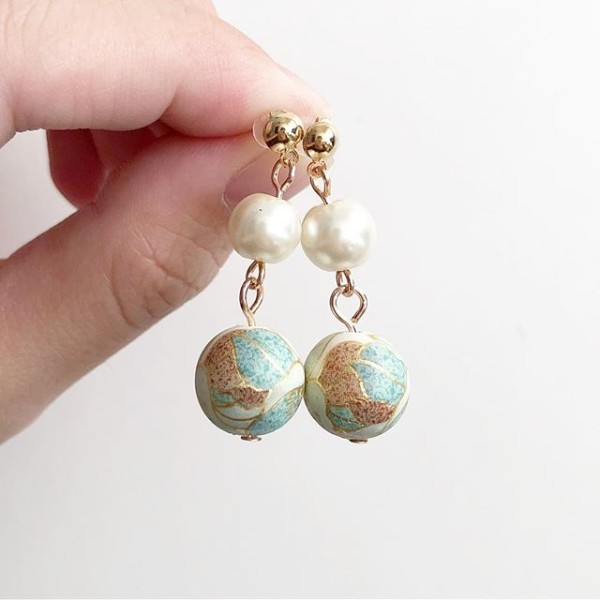 Blue Floral  with Pearls Floral Earrings - Diary of a Miniature Enthusiast