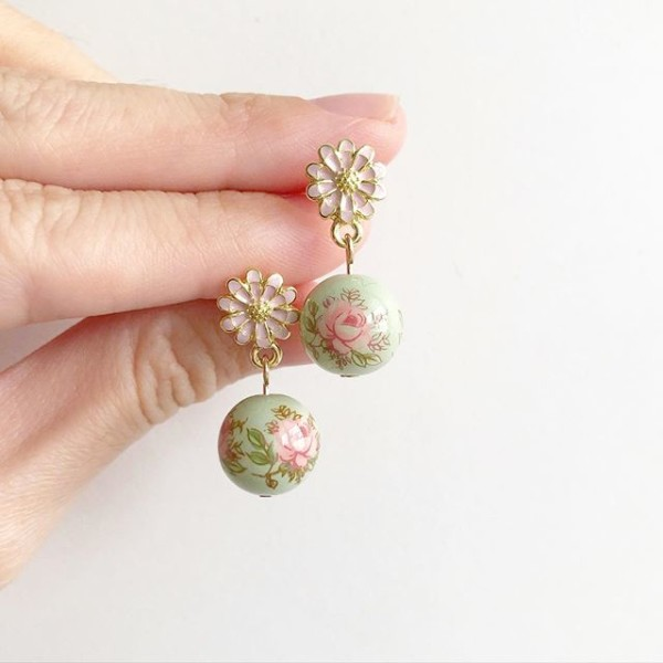 Pastel Pink Rose Sage Floral Earrings - Diary of a Miniature Enthusiast