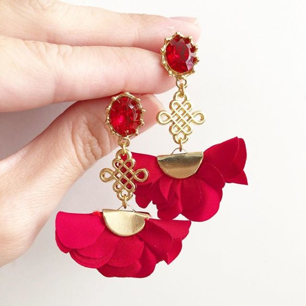 Red Chinese Knot Flare Earrings - Diary of a Miniature Enthusiast