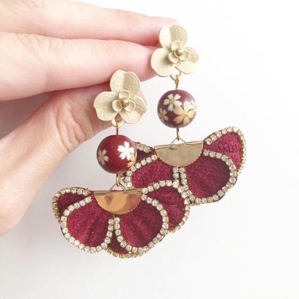 Maroon Sakura Rhinestone Border Flare Earrings - Diary of a Miniature Enthusiast