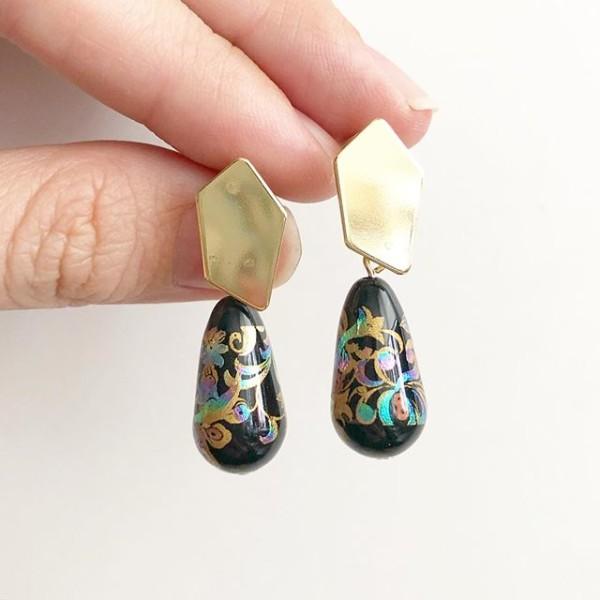 Mystic Swirls in Black Teardrop Tensha Earrings - Diary of a Miniature Enthusiast