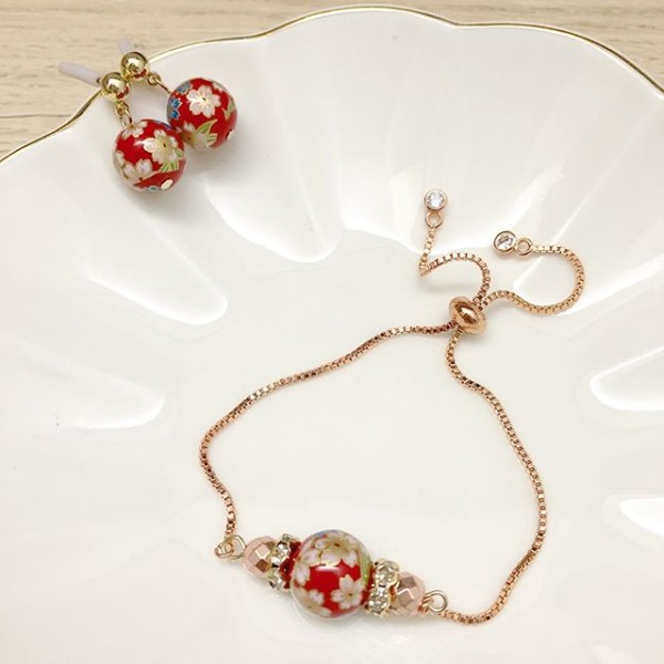 Red Sakura Adjustable Bracelet and Earrings - Diary of a Miniature Enthusiast