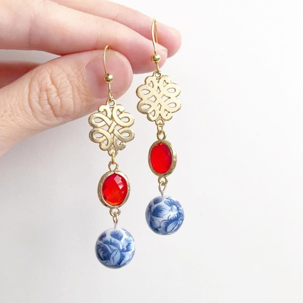 Chinoiserie Chic Knot Earrings - Diary of a Miniature Enthusiast