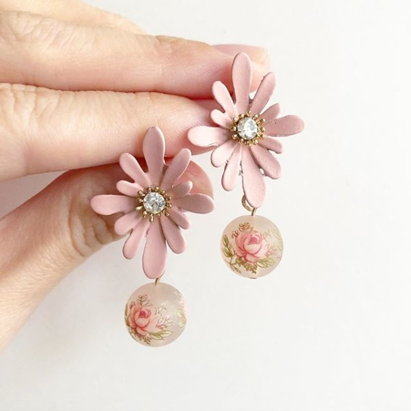 Frosted Pastel Pink Rose Floral Earrings - Diary of a Miniature Enthusiast