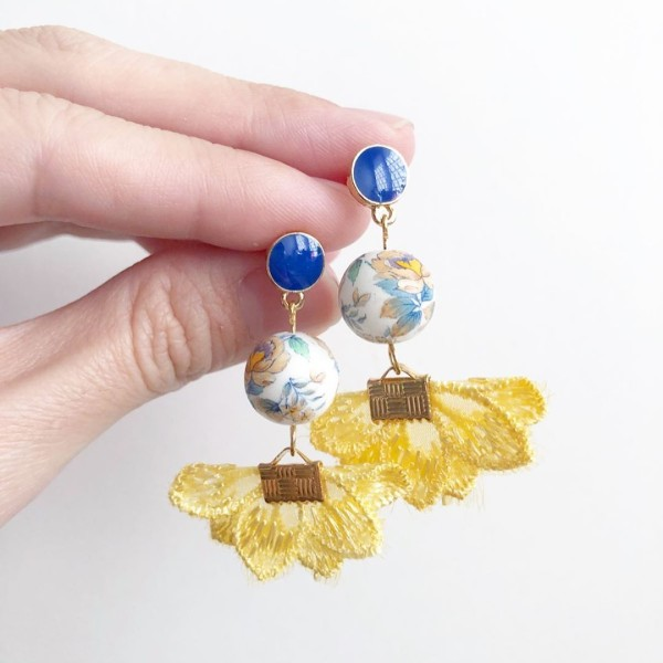 White Multicolored Camelia Yellow Flare Earrings - Diary of a Miniature Enthusiast