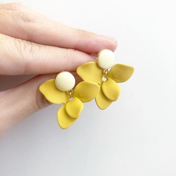 Matte Pastel Yellow Petals Earrings - Diary of a Miniature Enthusiast