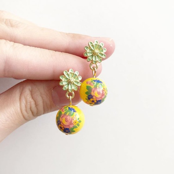 Sunshine Floral Bouquet Tensha Earrings - Diary of a Miniature Enthusiast