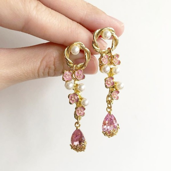 Gold and Pink with Pearls Earrings - Diary of a Miniature Enthusiast