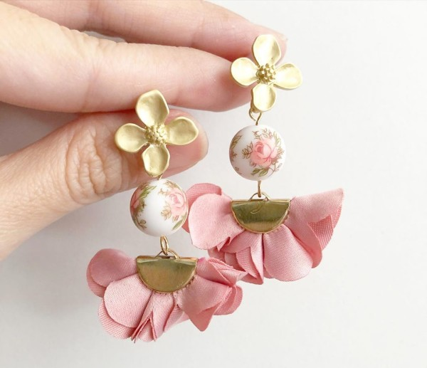 Pastel Pink Rose Flare Floral Earrings - Diary of a Miniature Enthusiast