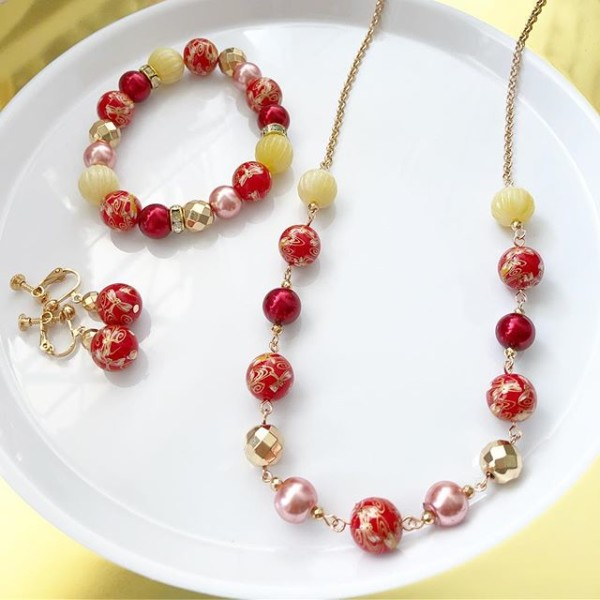 Red and Yellow Floral Earrings, Bracelet and Necklace - Diary of a Miniature Enthusiast