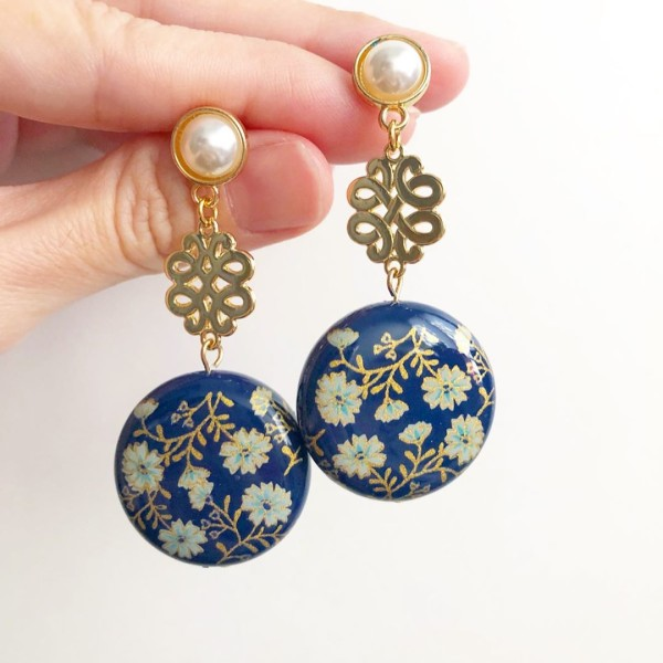 Navy Daffodils Statement Knot Earrings - Diary of a Miniature Enthusiast