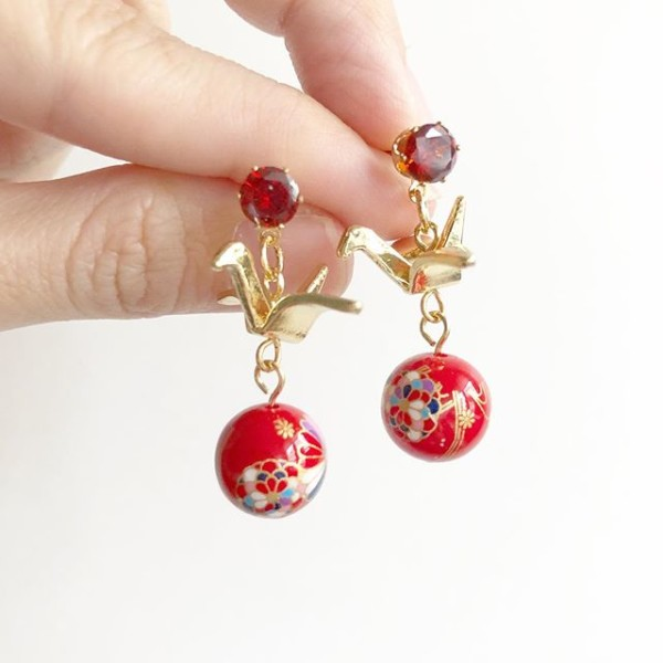 Red and Gold Earrings  - Diary of a Miniature Enthusiast