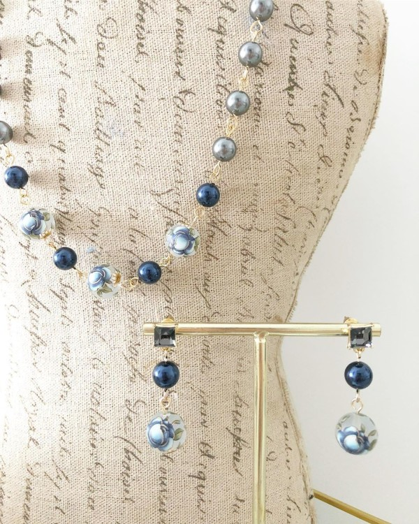 Blue and Swarovski Crystal Pearls Floral Necklace and Earrings - Diary of a Miniature Enthusiast
