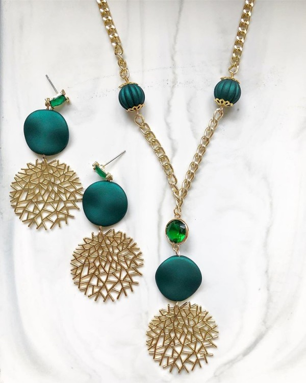 Green and Gold Earrings and Necklace - Diary of a Miniature Enthusiast