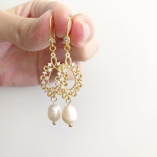 Purity Intricate CZ Pearls Earrings - Diary of a Miniature Enthusiast