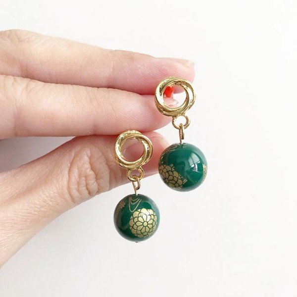 Emerald Green Kimono Earrings - Diary of a Miniature Enthusiast