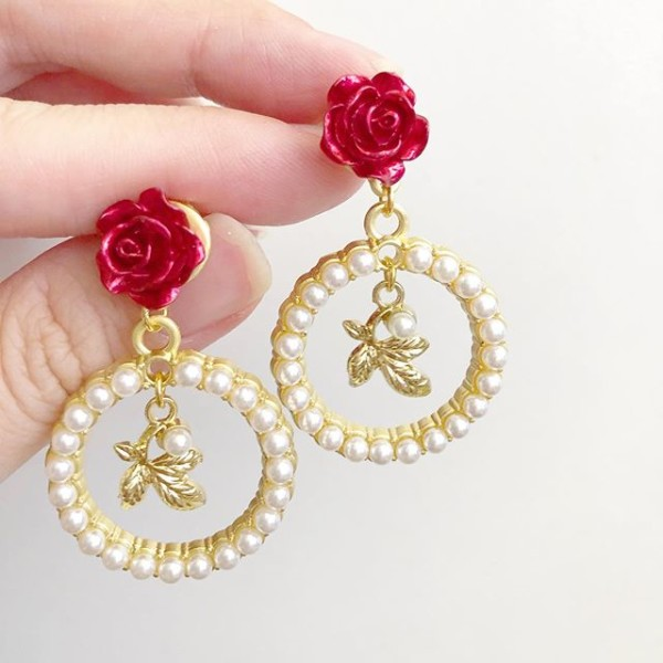Christmas Romance Red Rose Leaf Dangle Earrings - Diary of a Miniature Enthusiast