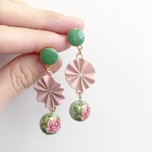 Classic Rose in Sage and Blush Earrings - Diary of a Miniature Enthusiast