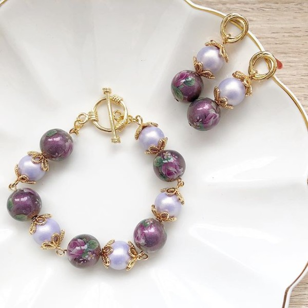Purple Rose Earrings and Bracelet - Diary of a Miniature Enthusiast
