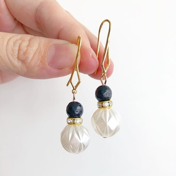 Gold Plated Hooks With Faux Pearls and Blue Sandstone Beads Earri - Diary of a Miniature Enthusiast