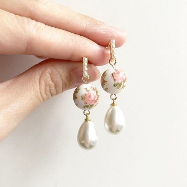Pastel Pink Rose Earrings with Pearl Accents - Diary of a Miniature Enthusiast