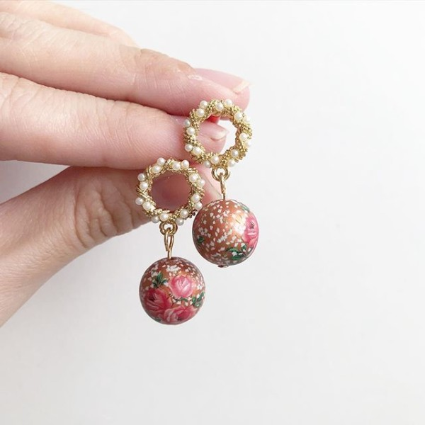 Metallic Copper Triple Rose with Intricate Pearl Studs - Diary of a Miniature Enthusiast