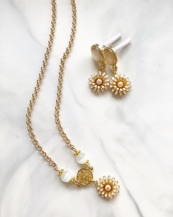 Gold and White Earrings and Necklace - Diary of a Miniature Enthusiast