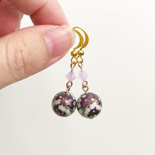 Metallic Purple Floral Earrings - Diary of a Miniature Enthusiast