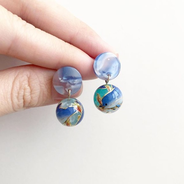 Ocean Dolphin Tensha Earrings - Diary of a Miniature Enthusiast