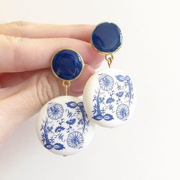 Matte Porcelain Statement Blue Earrings - Diary of a Miniature Enthusiast