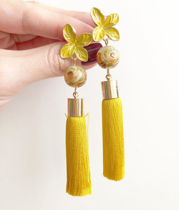 Yellow Vintage Floral Earrings - Diary of a Miniature Enthusiast
