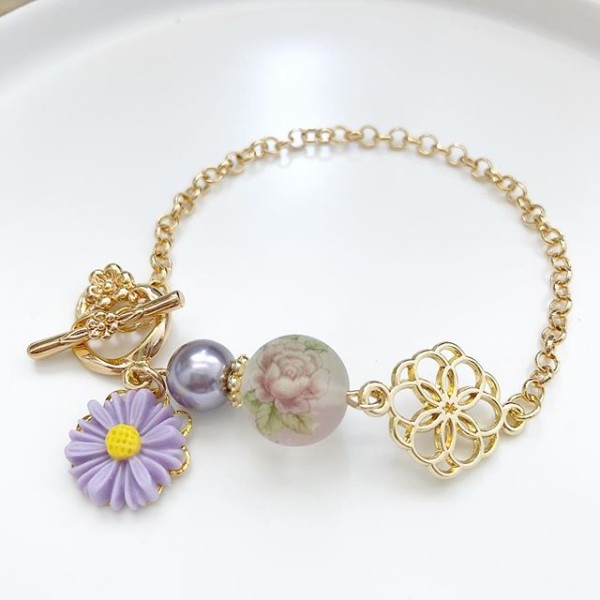 Frosted Lilac Rose Japanese Tensha Floral Bracelet - Diary of a Miniature Enthusiast