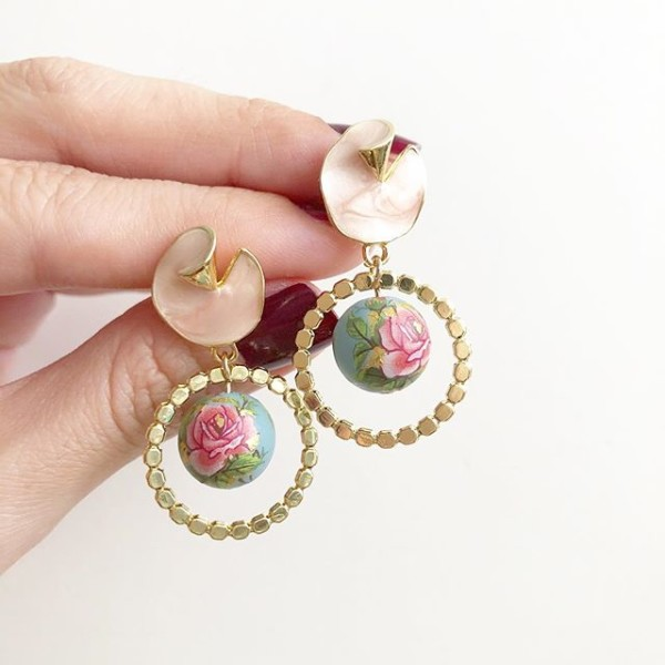Classic Rose on Dusty Blue Earrings - Diary of a Miniature Enthusiast