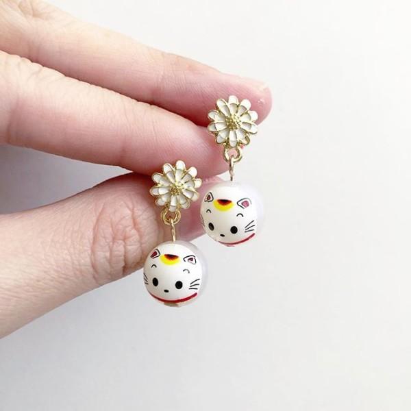Opal White Lucky Cat Tensha Earrings - Diary of a Miniature Enthusiast
