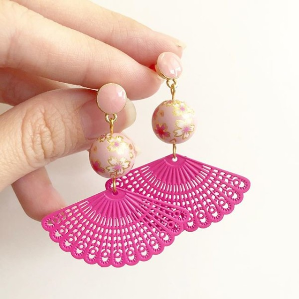 Sweet Pink Sakura Pink Fan Earrings - Diary of a Miniature Enthusiast