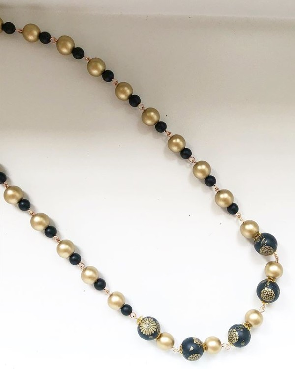Matte Black and Gold Floral Long Necklace - Diary of a Miniature Enthusiast