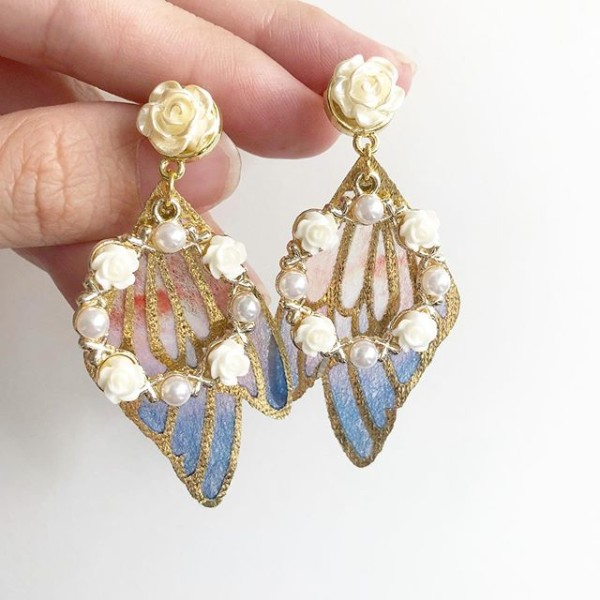 Garden Butterfly Cream Rose Wing Earrings - Diary of a Miniature Enthusiast